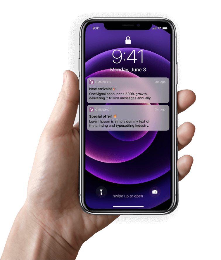 Omnishop notifications in hand holding iphone